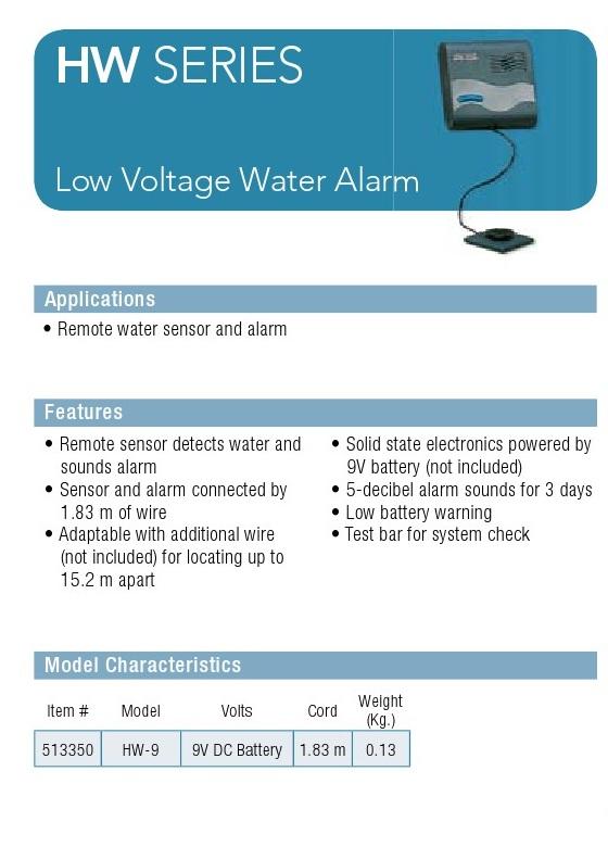 HW-9 Low Voltage Water Alarm » Deltaquip Supplies Ltd.