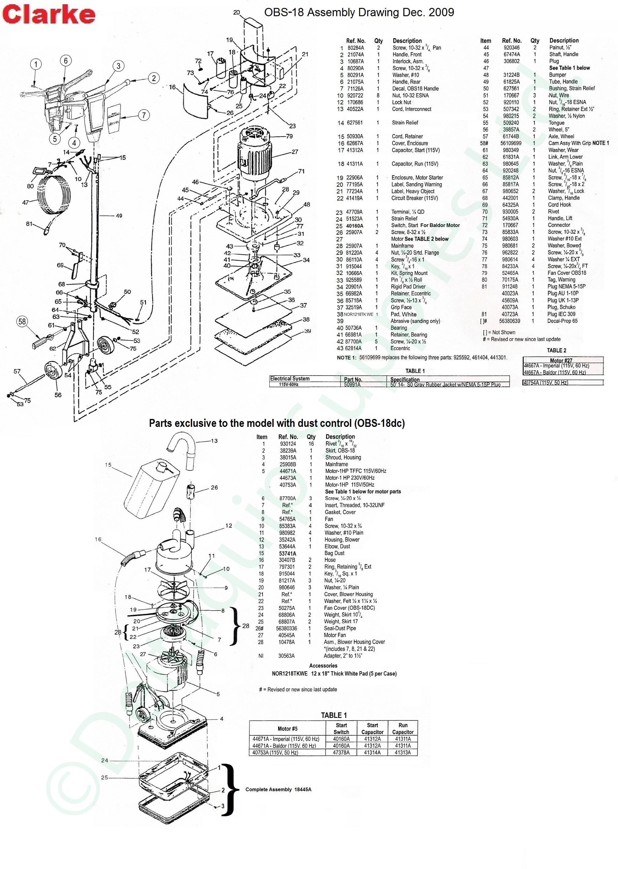 clarke floor sander parts list