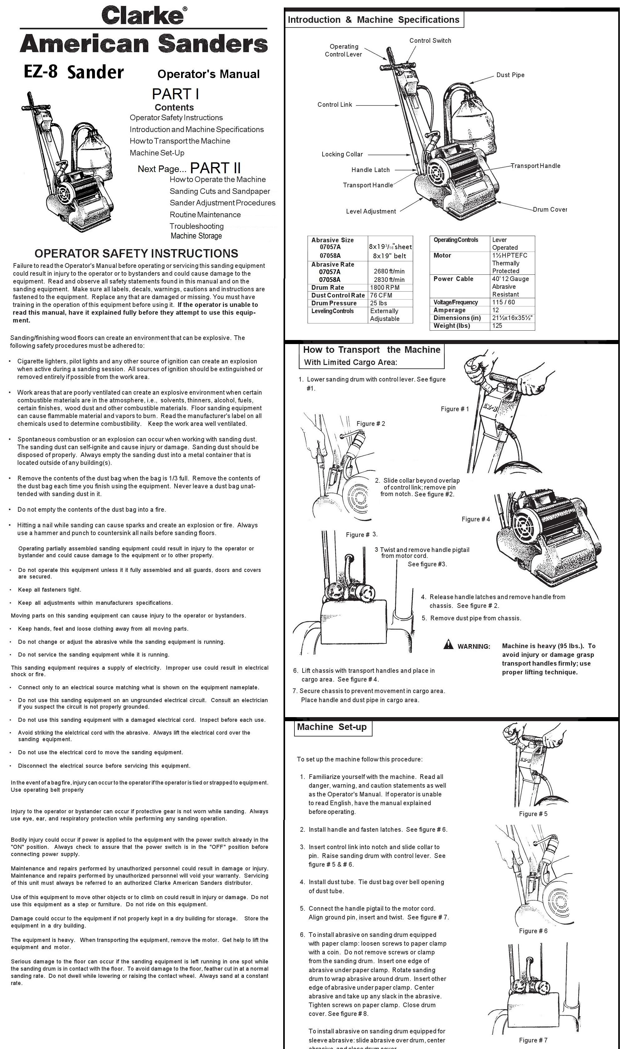 Clarke 078058a Ez 8 Floor Sander Deltaquip Supplies Ltd